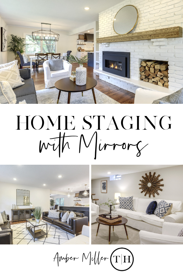 How to Stage Your Home with Mirrors - Home Staging and Home Decorating Advice with Amber Miller of ThresholdHomesMN.com | Large Mirrors | Gold Mirros